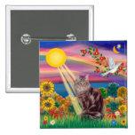 Maine Coon Cat 10 - Autumn Sun Pinback Buttons