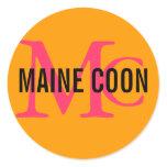 Maine Coon Cat Breed Monogram Classic Round Sticker
