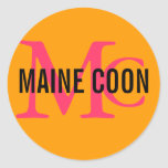 Maine Coon Cat Breed Monogram Classic Round Sticker