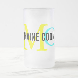 Maine Coon Cat Breed Monogram Frosted Glass Beer Mug
