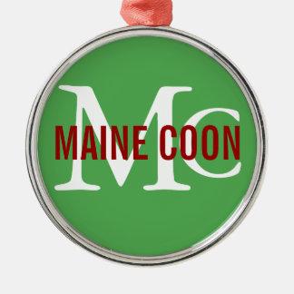 Maine Coon Cat Breed Monogram Metal Ornament
