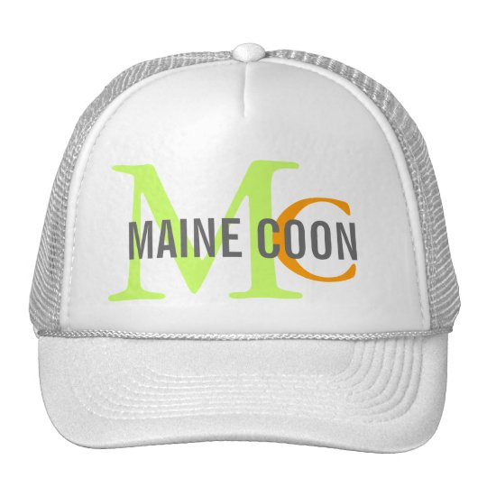 Maine Coon Cat Breed Monogram Trucker Hat