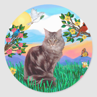 Maine Coon Cat  - Bright Life Classic Round Sticker