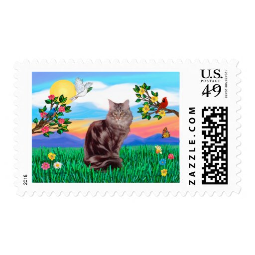 Maine Coon Cat  - Bright Life Stamp