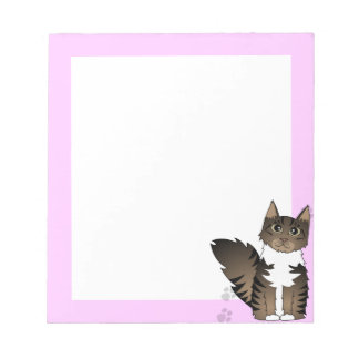 Maine Coon Cat - Brown and White Tabby Note Pads