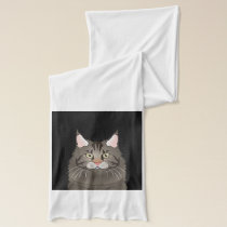 Maine Coon Cat Cartoon Paws Scarf