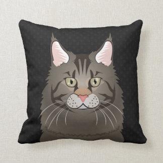 Maine Coon Cat Cartoon Paws Throw Pillow
