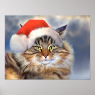 Maine Coon Cat Christmas Portrait Fine Art Print
