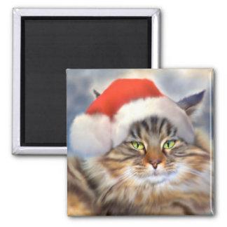 Maine Coon Cat Christmas Portrait Magnet