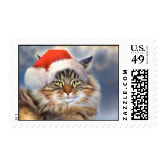 Maine Coon Cat Christmas Portrait Stamps