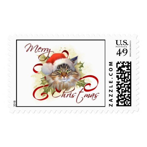 Maine Coon Cat Christmas Stamps