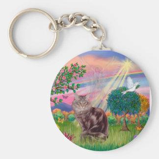 Maine Coon Cat  - Cloud Angel Basic Round Button Keychain
