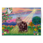 Maine Coon Cat  - Cloud Angel Greeting Cards