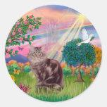 Maine Coon Cat  - Cloud Angel Round Sticker