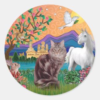 Maine Coon Cat - Fantasy Land Round Sticker
