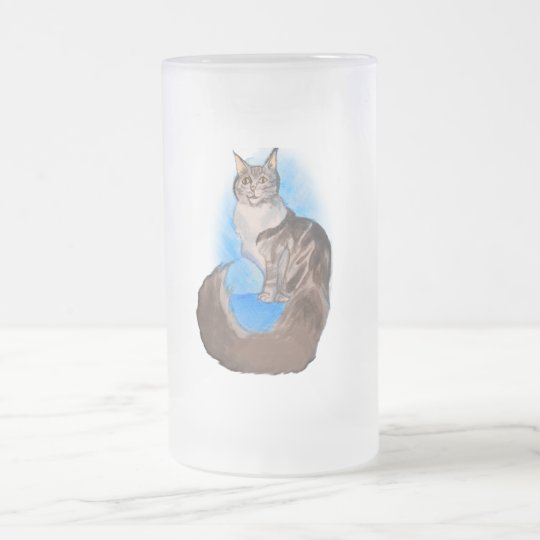 MAINE Coon Cat Frosted Glass Beer Mug