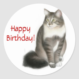 Maine Coon Cat Happy Birthday Sticker