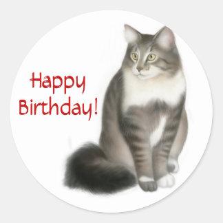 Maine Coon Cat Happy Birthday Sticker