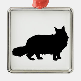 Maine Coon Cat Square Metal Christmas Ornament