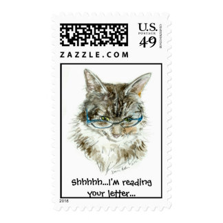 Maine Coon Cat READING glasses Stamp