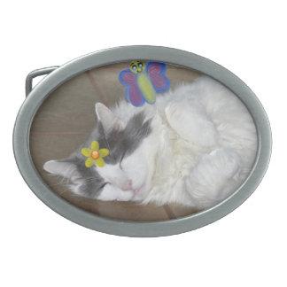 Maine Coon cat sleeping butterfly Belt Buckle