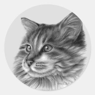 Maine Coon Cat Round Stickers