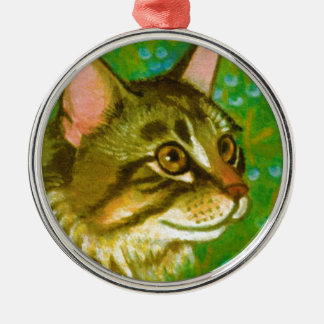 Maine Coon Cat with Mistletoe Metal Ornament
