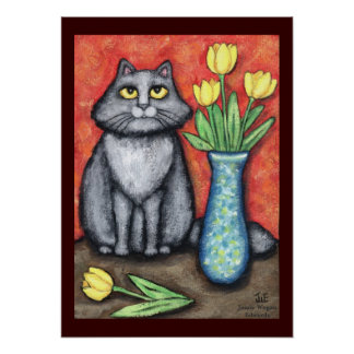 Maine Coon Cat With Tulips Art Print