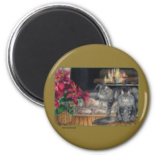 Maine Coon Christmas Magnet - Round