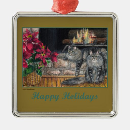 Maine Coon Christmas Ornament - Square Happy