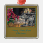 Maine Coon Christmas Ornament - Square Merry