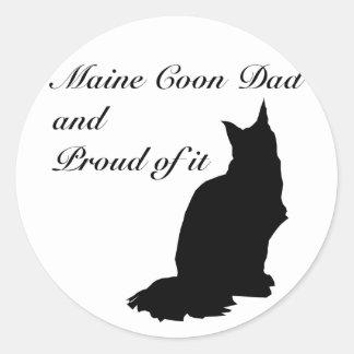 Maine Coon Dad Classic Round Sticker