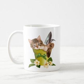 Maine Coon in Flowerpot Classic White Coffee Mug