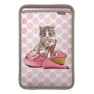 Maine Coon in pink bow slipper Sleeve For MacBook Air