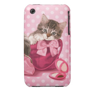 Maine coon in pink handbag iPhone 3 Case-Mate case