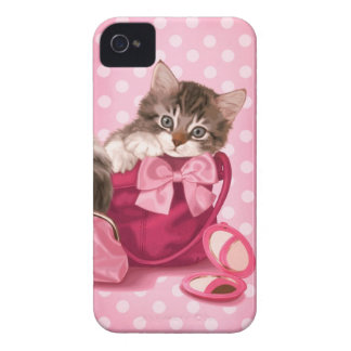 Maine coon in pink handbag iPhone 4 covers