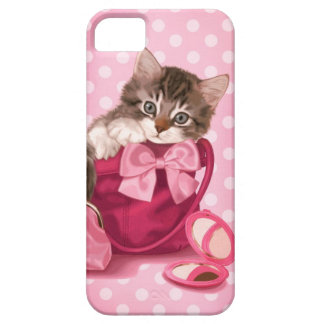 Maine coon in pink handbag iPhone 5 covers