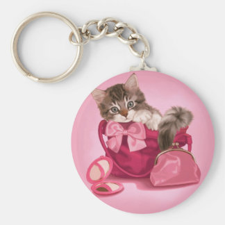 Maine coon in pink handbag key chains