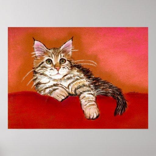 Maine Coon Kitten Cat Portrait Poster