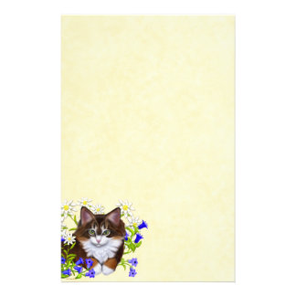 Maine Coon Kitten in Flowers Stationery