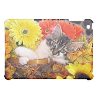 Maine Coon, Kitty Cat Kitten, Fall Colors, Flowers iPad Mini Cover
