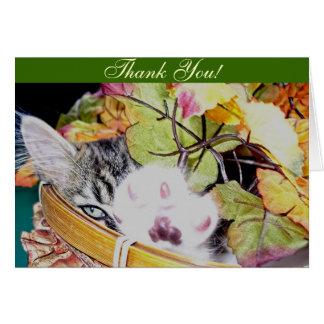 Maine Coon Kitty Cat Kitten Waving, Autumn Leaves Card