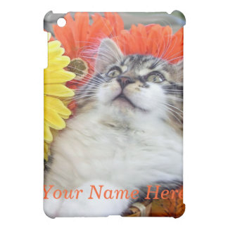 Maine Coon Kitty Cat, Pretty Sunflowers & Flowers iPad Mini Case