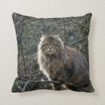 Maine Coon Long-hair Tabby Cat Animal Pet Throw Pillows