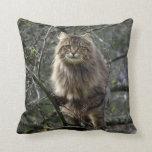 Maine Coon Long-hair Tabby Cat Animal Pet Throw Pillow