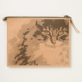 maine coon watercolor art travel pouch