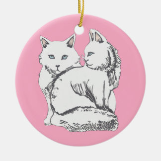 Maine Coons with Pink Circle Ornament