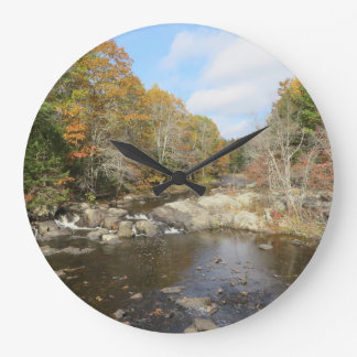 Maine Creek in the fall Large Clock