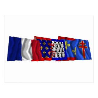 Maine-et-Loire, Pays-de-la-Loire & France flags Postcard