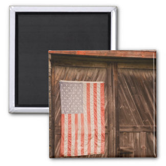 Maine, Faded American flag on door of old barn 2 Inch Square Magnet